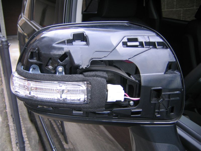 LEDウィンカー内蔵ドアミラー取り付け