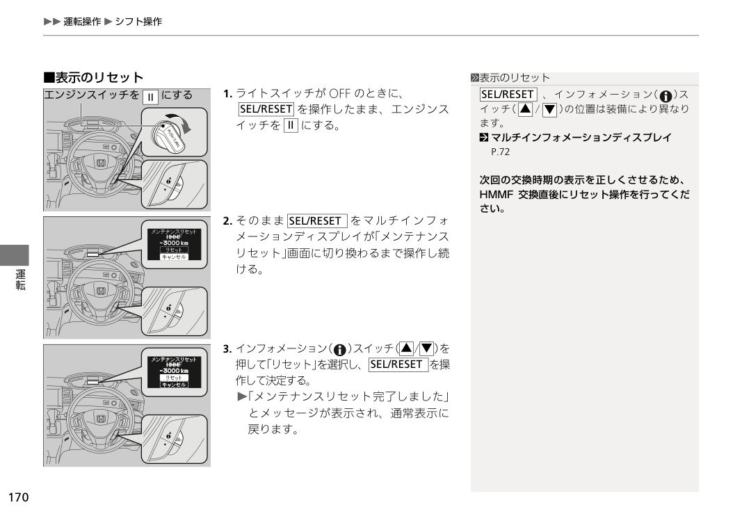 HMMFメンテナンス表示リセット