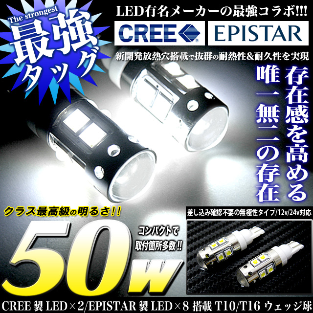 不明 強烈50W CREE×EPISTAR T16LEDウェッジ球
