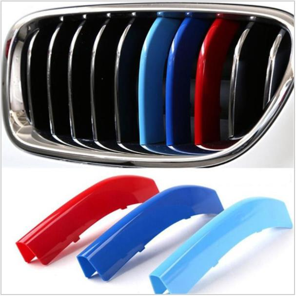 中華製 3D M Car Styling Front Grille Trim Sport Strips Cover Motorsport Power Performance Stickers for 2011