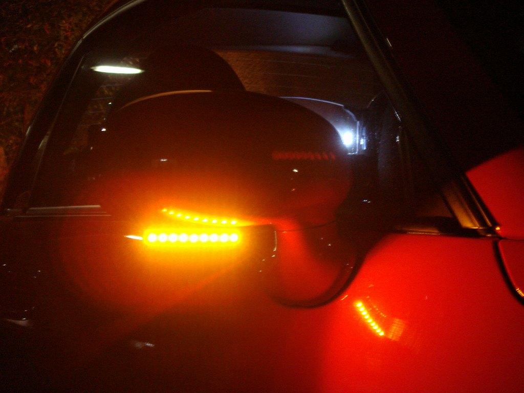 ミラーに色々LED!⑥ ウインカー完成・点灯状態