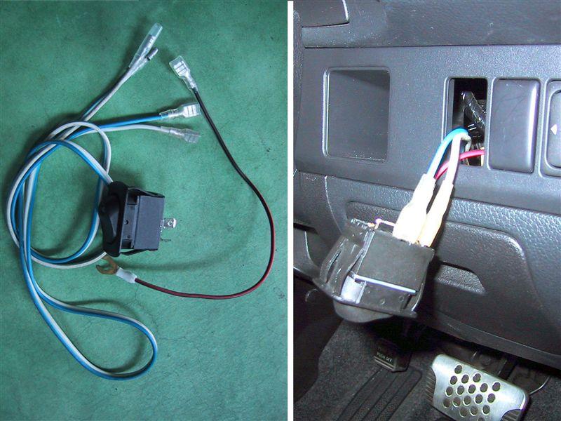 あらかじめ作っておいたハーネスを接続します。<br /> ①ETCのアクセサリー電源<br /> ②車のアクセサリー電源<br /> ③アース線<br /> 以上3本です。<br /> 単純にON・0FFだけならアース線は不要ですが、LEDが点灯しませんね。