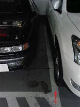 駐車場の枠線、守ってよ~
