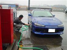 雨の茂木で洗車