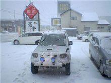 大雪の中‥