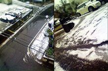 雪……、駐車場の坂