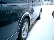 日が暮れてから雪・・・朝でこんくらい。