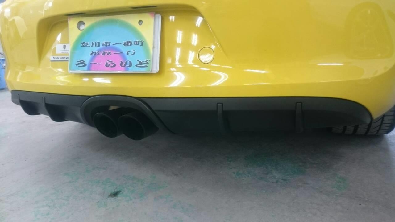 立川市の車の板金塗装修理工場 ガレージローライドのポルシェ ケイマン GTSの樹脂パーツ艶ありブラック塗装
