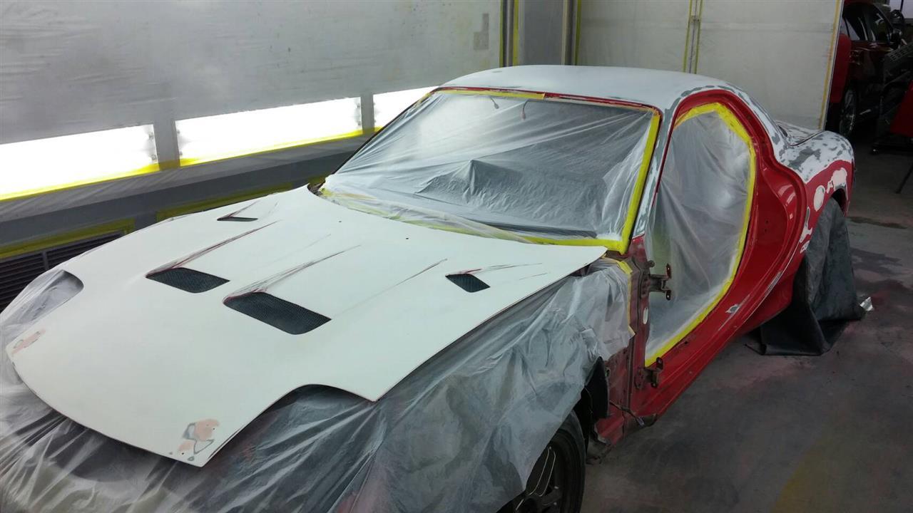 立川市の車の板金塗装修理工場 ガレージローライドのマツダ RX-7のオールペイント オールペン 全塗装 です。