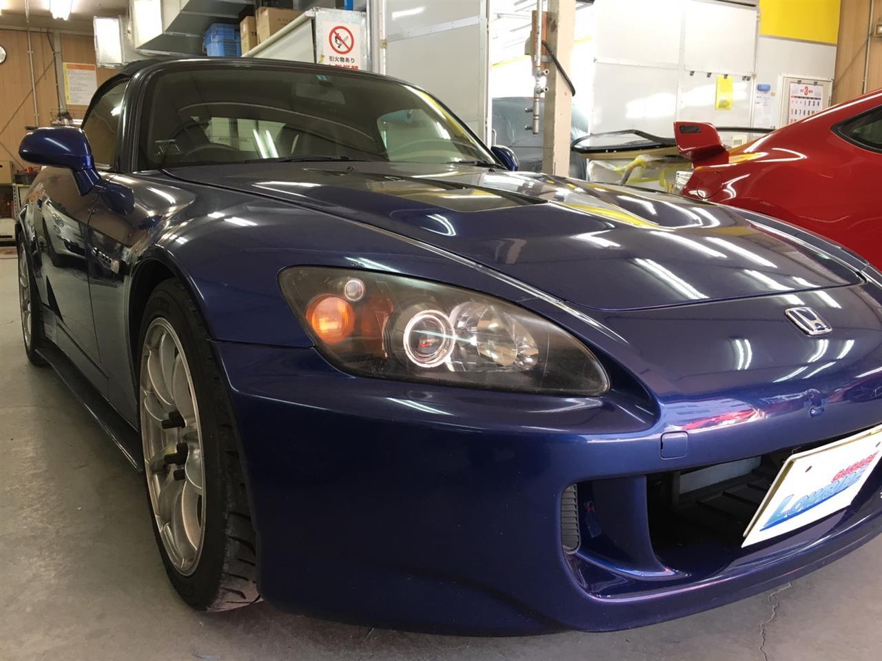 立川市の車の板金塗装修理工場 ガレージローライドのホンダ S2000の塗装劣化&他店修理不具合の板金・塗装・修理です。