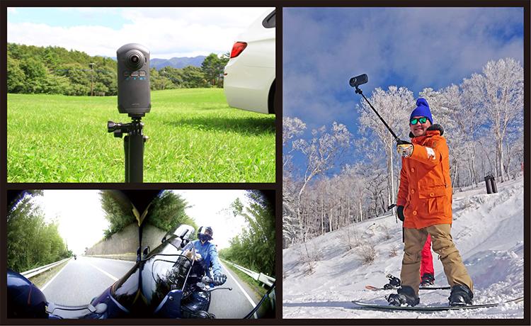 バッテリーオプション使用でアクションカメラとして活躍!車外に持ち出して360°撮影が可能。