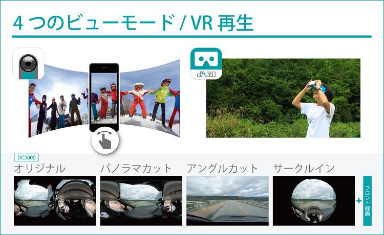 撮影データはスマートフォンで確認。見やすい4つのビューモードや、VR再生で楽しめます。