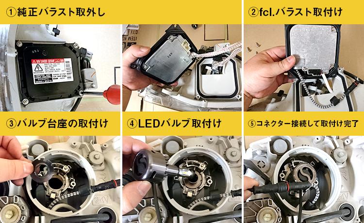 今までの純正HID ⇒ LED化キットは配線が面倒!しかし、fcl.はポン付けで取付け可能