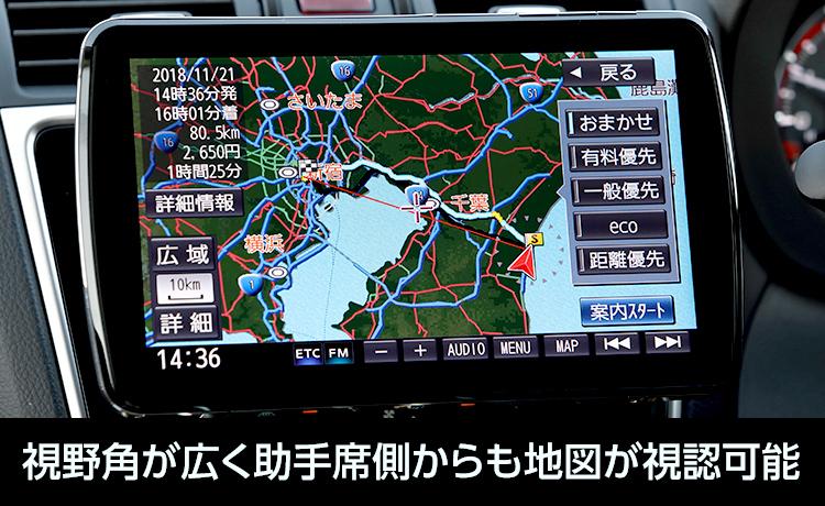 視野角が広く助手席側からも地図が視認可能
