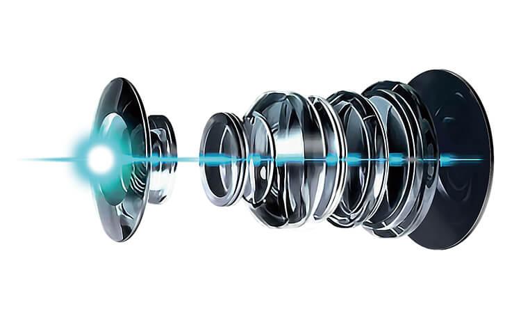 鮮明な映像を記録する光学6層ガラスレンズ