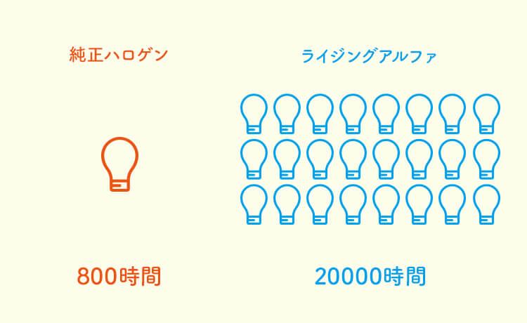 ライジングアルファの寿命は20000時間