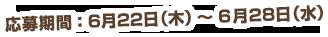 応募期間 6/22(木)-6/28(水)まで