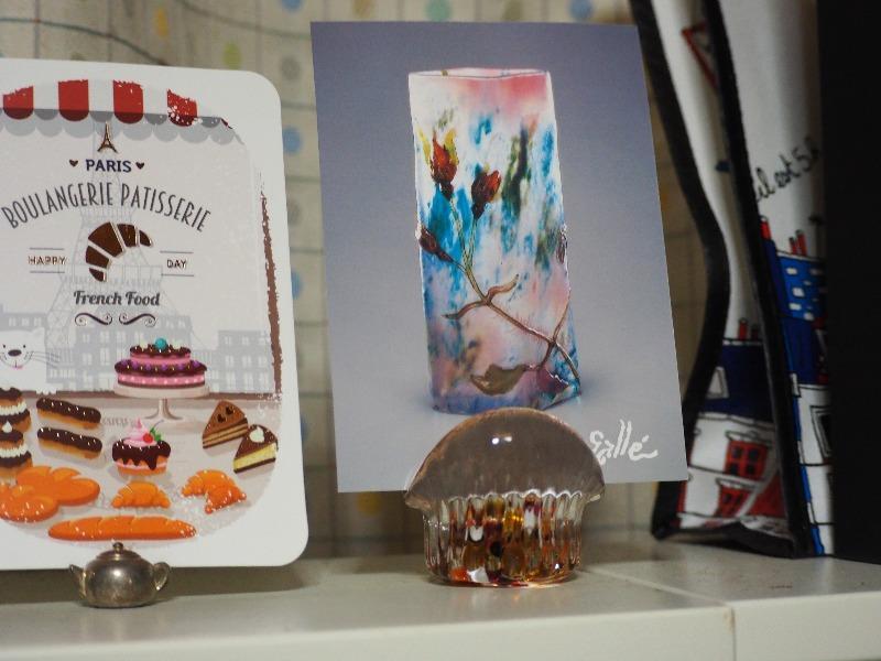 飛騨高山美術館 ポストカード(エミール・ガレ/花器『フランスの薔薇』)&ガラスのカード立て