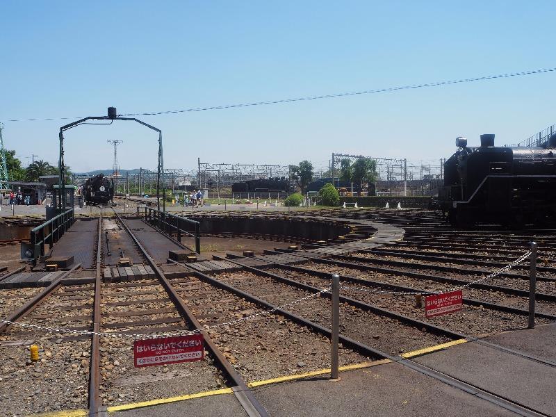 京都鉄道博物館 梅小路扇形車庫 転車台、SLスチーム号