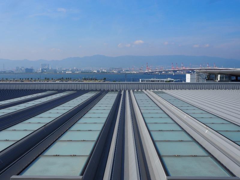 神戸空港(マリンエア)展望デッキ 神戸市街地・六甲山方面