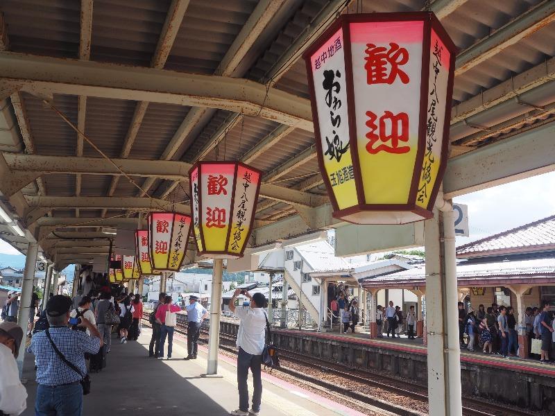 越中八尾駅 ホーム おわら風の盆