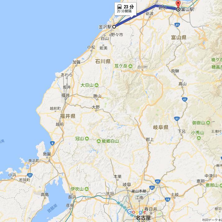 GoogleMap 金沢駅→富山駅 北陸新幹線