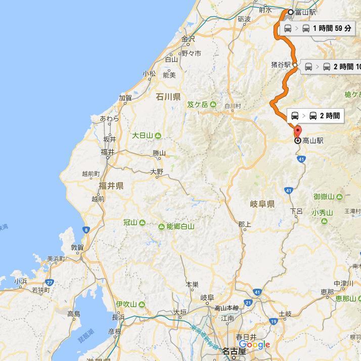 GoogleMap 富山駅→高山駅 高山本線