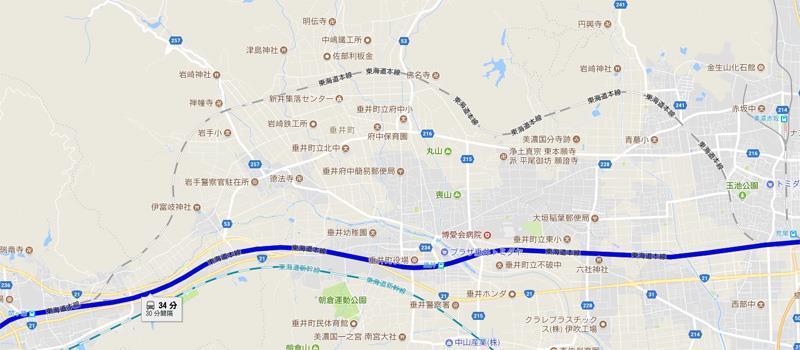 GoogleMap 南荒尾信号場→関ヶ原 しらさぎ