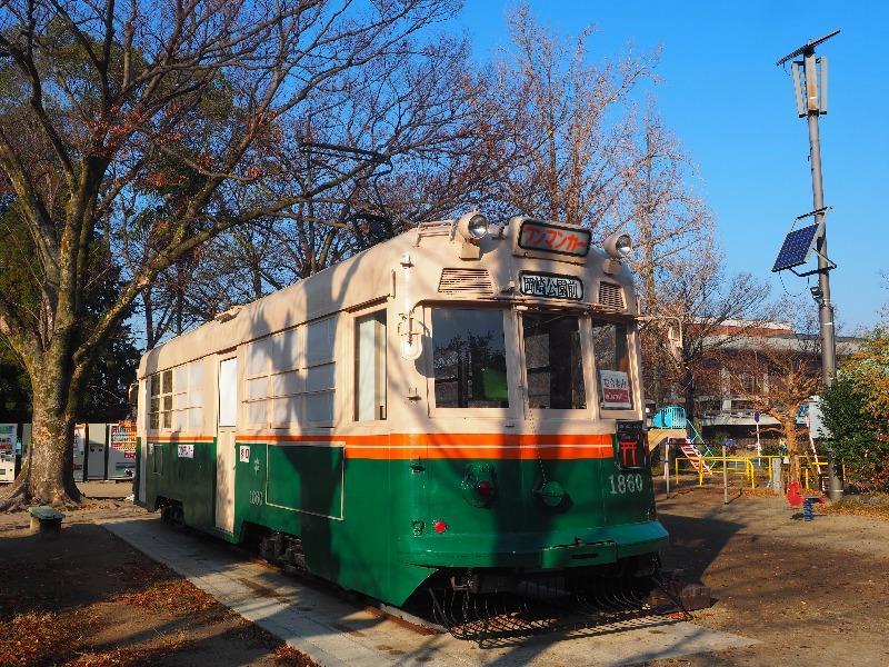 岡崎公園 岡崎・市電コンシェルジュ 市電車両1860号
