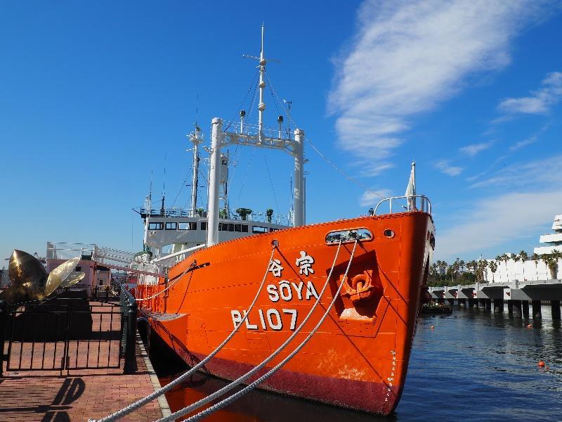"""南極観測船""""宗谷""""船首"""