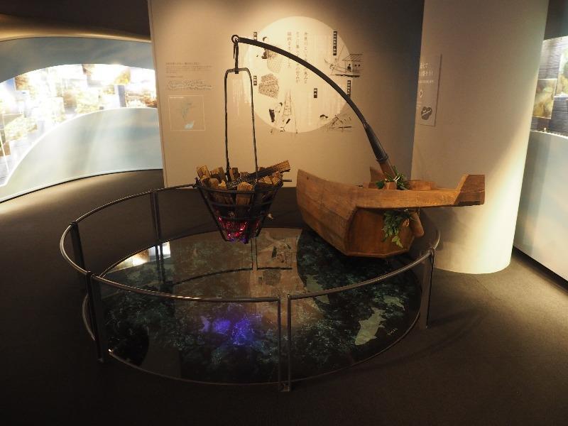 長良川うかいミュージアム 展示室 鮎と長良川の世界(篝火・松割木)