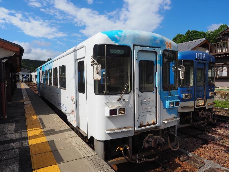 明知鉄道 明智駅 アケチ14「半分、青い。」ラッピング列車