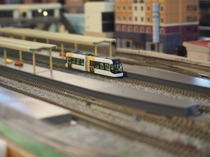 鉄道カフェはるか 鉄道ジオラマ KATO Nゲージ 富山ライトレール TLR0603(2)