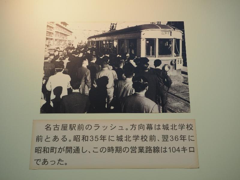 レトロでんしゃ館 パネル(4)名古屋駅前のラッシュ。