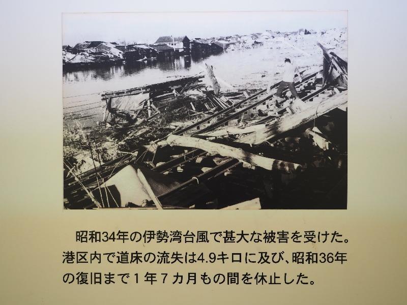 レトロでんしゃ館 パネル(3)昭和34年の伊勢湾台風で甚大な被害を受けた。