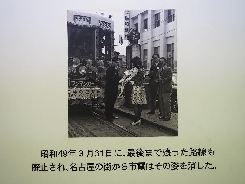 レトロでんしゃ館 パネル(7)昭和49年3月31日に、最後まで残った路線も廃止され、名古屋の街から市電はその姿を消した。