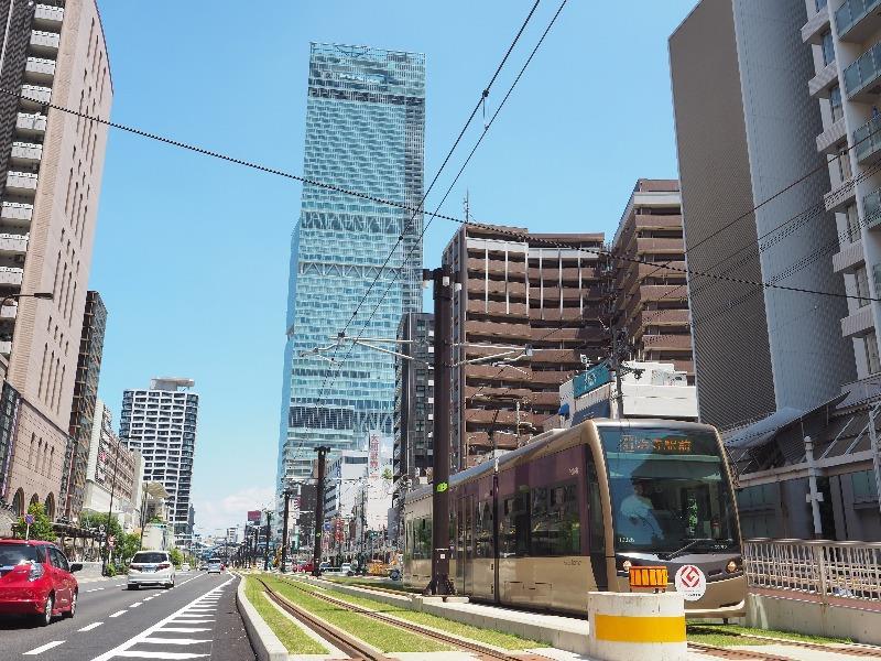 阪堺電軌 阿倍野駅 LRT(堺トラム)1002号「紫おん」(2)