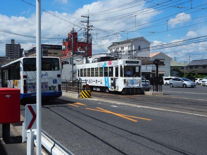 岡山電気軌道 東山・おかでんミュージアム駅 7000形(7002)+両備バス