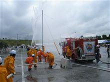 消防の標的寄せ競技大会。