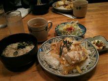チキンカツ丼と冷ソーメン