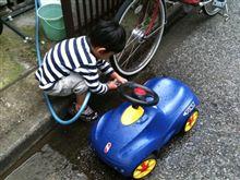 長男の初洗車!