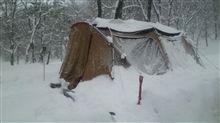 雪中キャンプ…