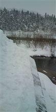 雪下ろしの途中
