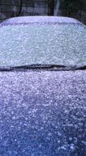 2/11 16:50の千葉でも車に雪が積もり始めた