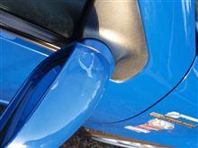 ドアミラーの青いケース塗装