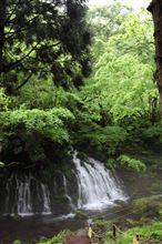 新緑の元滝伏流水とカメラマン