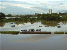 ふるさと村駐車場水没