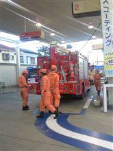 消防車の給油ピットイン風景