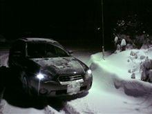 初雪道走行
