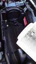 ボンネットを開けて ラス前洗車!!。